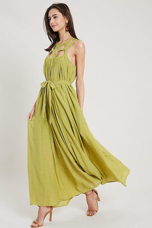 Buy Sleeveless Crochet Trimmed Maxi Dress Lime online at Southern Fashion Boutique Bliss