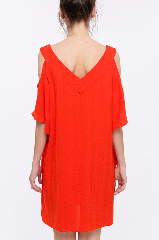 Buy V-Neck Cold Shoulder Short Caftan Dress Red Orange online at Southern Fashion Boutique Bliss