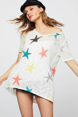 Buy Star Print Low Gauge Hacci Knit Top Off White online at Southern Fashion Boutique Bliss