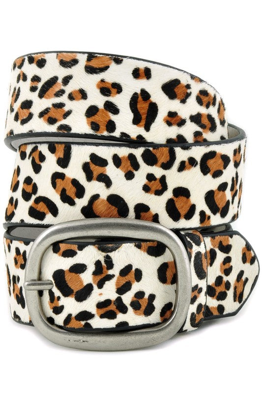White Leopard Print Genuine Leather Belt