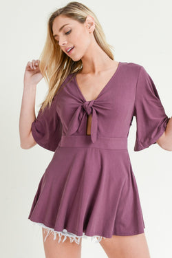 Buy Front Tie Flare Sleeve Top Grape online at Southern Fashion Boutique Bliss