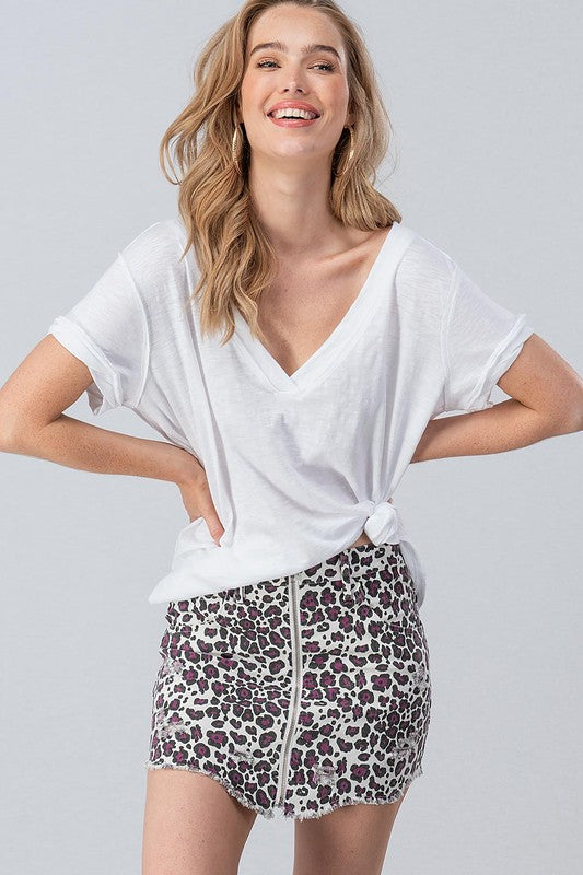 Buy Distressed Animal Print Skirt with Zippers White/Purple online at Southern Fashion Boutique Bliss