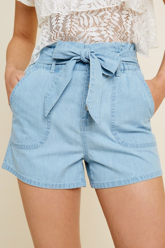 Buy Belted High-Rise Paperbag Short Light Denim online at Southern Fashion Boutique Bliss