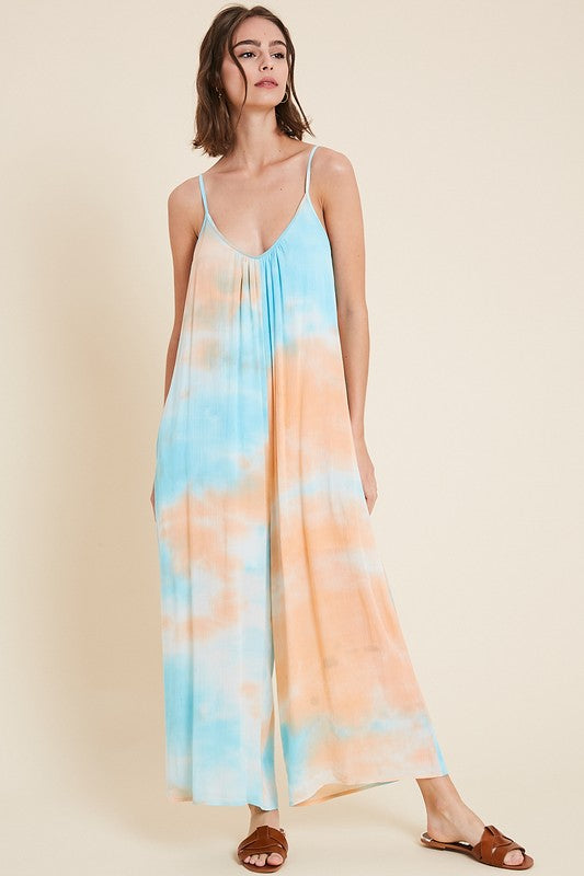 Buy Tie-Dye Sleeveless Jumpsuit w/Pockets Peach Combo online at Southern Fashion Boutique Bliss