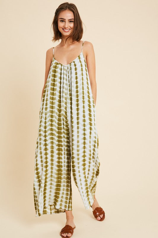 Buy Tie-Dye Sleeveless Jumpsuit w/Pockets Olive Combo online at Southern Fashion Boutique Bliss