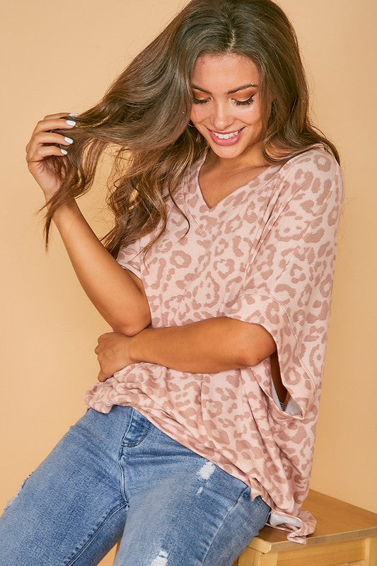 Buy Animal Printed 1/2 Sleeve Knit Top Pink online at Southern Fashion Boutique Bliss