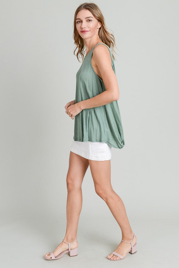 Buy Twisted Back Detail Tank Green online at Southern Fashion Boutique Bliss