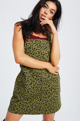 Buy Leopard Denim Overall Dress Olive online at Southern Fashion Boutique Bliss