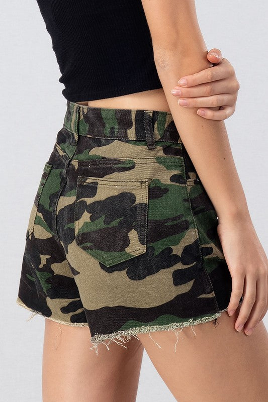 Buy Camo Shorts with Raw Hem Olive online at Southern Fashion Boutique Bliss