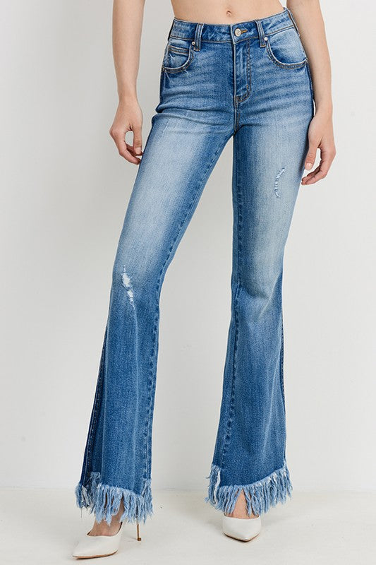 Buy Contrast Washed Frayed Flare Jeans Medium Denim online at Southern Fashion Boutique Bliss