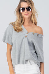 Buy Waffle Button V-Neck Drop Shoulder Top Grey online at Southern Fashion Boutique Bliss