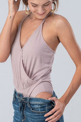 Buy Ribbed Surplice Body Suit Mauve online at Southern Fashion Boutique Bliss