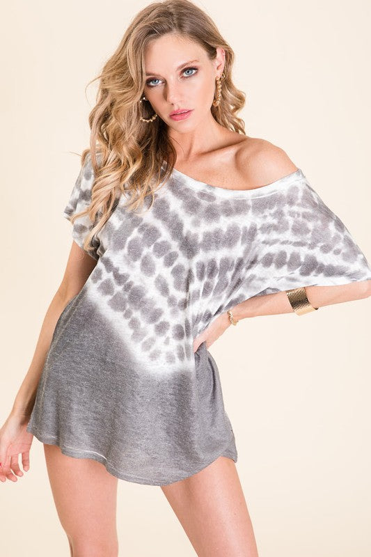 Buy Tie Dye Textured Knit Top Charcoal online at Southern Fashion Boutique Bliss