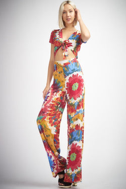 Buy Floral Tie Dye Tie Front Jumpsuit Multi-Color online at Southern Fashion Boutique Bliss