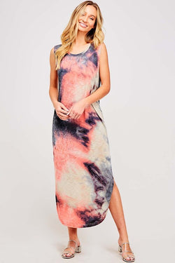 Buy Tie Dye Sleeveless Maxi Dress Navy online at Southern Fashion Boutique Bliss