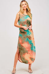 Buy Tie Dye Sleeveless Maxi Dress Turquoise online at Southern Fashion Boutique Bliss