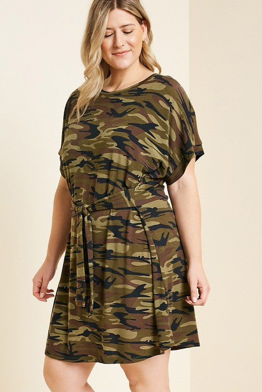 Buy Camo Tie Front T-Shirt Dress Camouflage online at Southern Fashion Boutique Bliss
