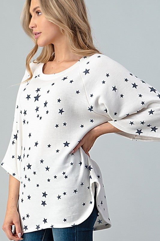 Star Printed Loose Fit Top Off White