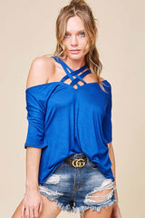 Buy SPRING - Off Shoulder Lattice Strappy Neck Top Royal Blue online at Southern Fashion Boutique Bliss