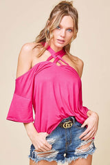 Buy SPRING - Off Shoulder Lattice Strappy Neck Top Hot Pink online at Southern Fashion Boutique Bliss