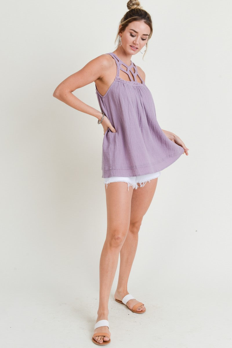 Buy Trim Detailed Sleeveless Top Lavender online at Southern Fashion Boutique Bliss