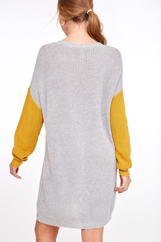 Color Block Sweater Dress Mustard - Athens Georgia Women's Fashion Boutique