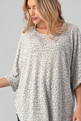 Buy Leopard Printed Loose Fit Top Grey online at Southern Fashion Boutique Bliss