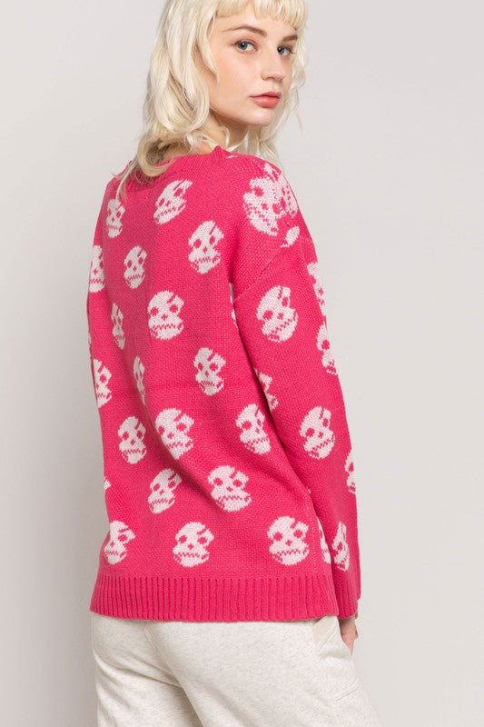 Lightweight V Neck Skull Sweater Pink - Athens Georgia Women's Fashion Boutique