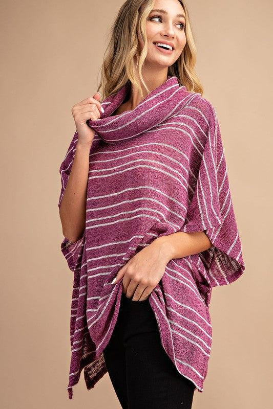 Buy Striped Turtleneck Poncho Top Magenta online at Southern Fashion Boutique Bliss