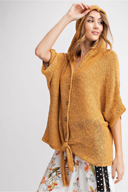 Buy Dolman Sleeves Knitted Hoodie Sweater Mustard online at Southern Fashion Boutique Bliss