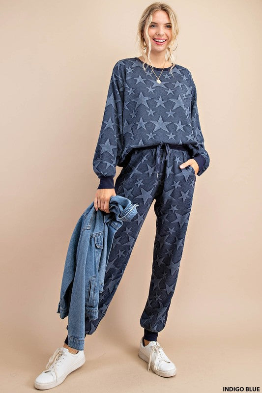 Buy Soft Star Jaquard Fabric Top Blue online at Southern Fashion Boutique Bliss
