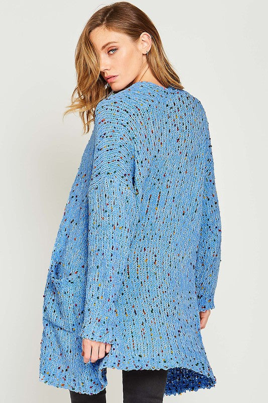 Buy Knit Confetti Cardigan with Pockets Blue online at Southern Fashion Boutique Bliss