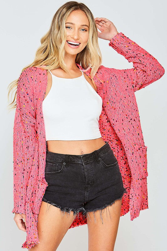 Knit Confetti Cardigan with Pockets Pink
