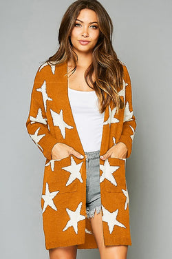 Star Printed Sweater Cardigan w/Pockets Mustard