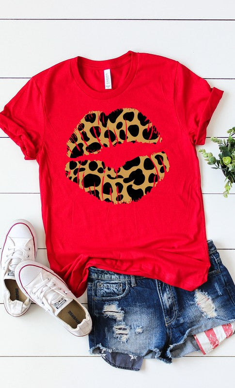 Buy Leopard Lips Graphic Tee Red online at Southern Fashion Boutique Bliss