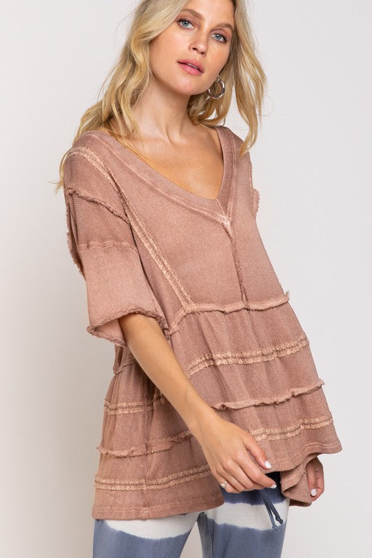 Short Sleeve Layered Gauze Top Mauve