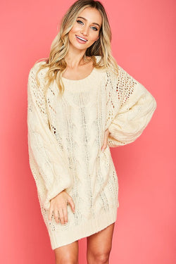 Oversize Cable-Knit Balloon Sleeve Top Ivory