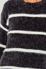 Buy Chenille Striped Velvet Sweater Charcoal online at Southern Fashion Boutique Bliss