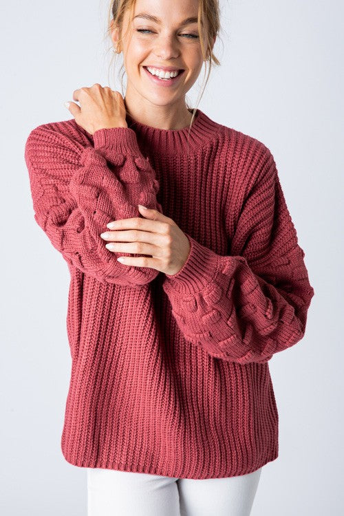 Loose Fit 3D Bubble Sleeve Sweater Rasberry