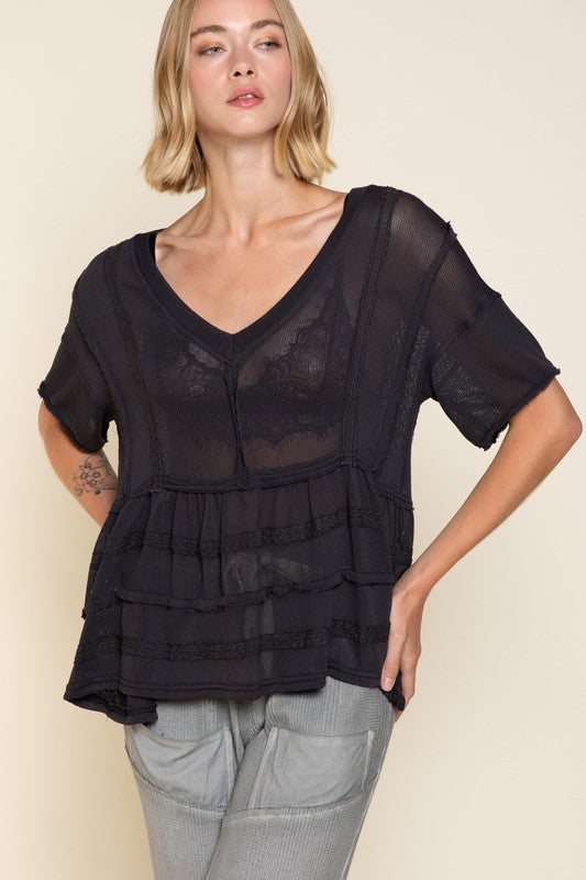 Buy Short Sleeve Layered Gauze Top Charcoal online at Southern Fashion Boutique Bliss