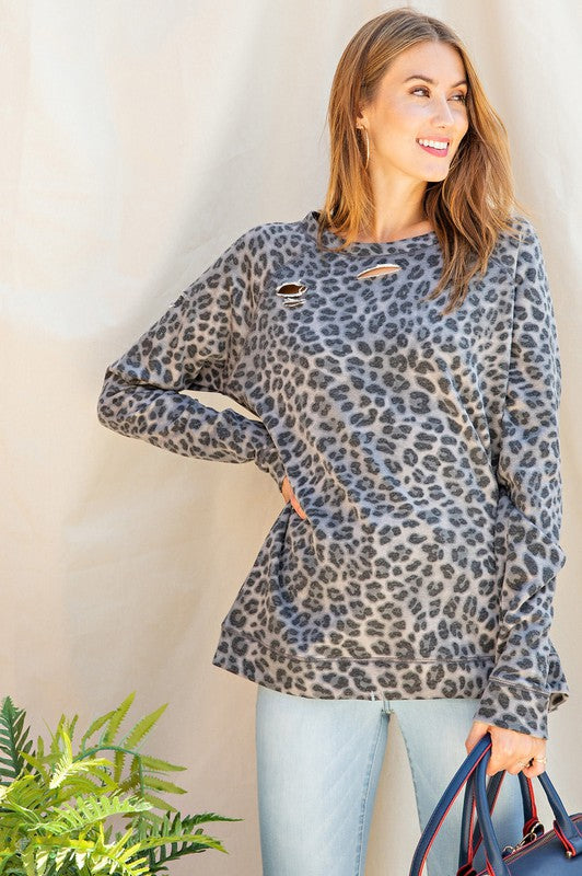 Leopard Crew Neck Pullover Grey