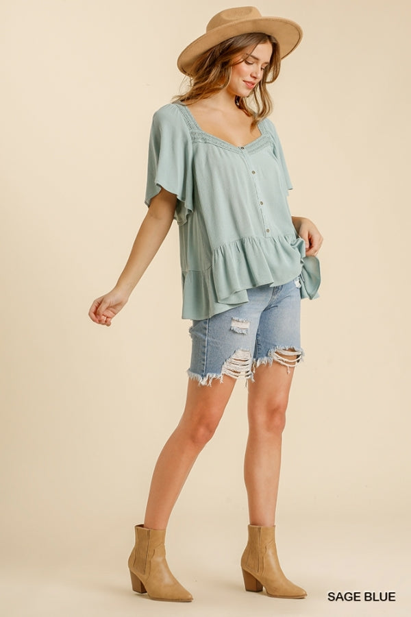 Button Front Short Bell Sleeve Top Blue