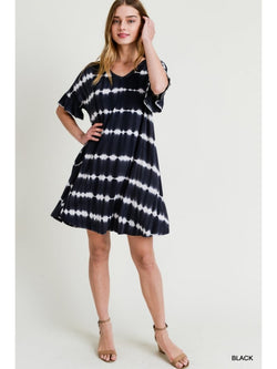 Buy Tie-Dye Stripe Dress with Pockets Black online at Southern Fashion Boutique Bliss