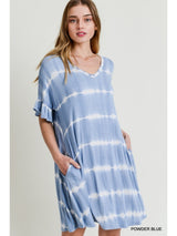 Buy Tie-Dye Stripe Dress with Pockets Powder Blue online at Southern Fashion Boutique Bliss