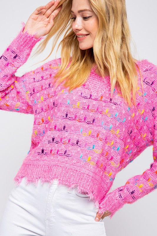 Distressed Confetti Sweater Pink Multi