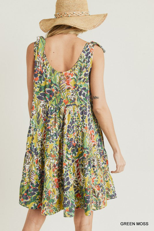 Buy Watercolor Floral Print Tie Dress Green Moss online at Southern Fashion Boutique Bliss