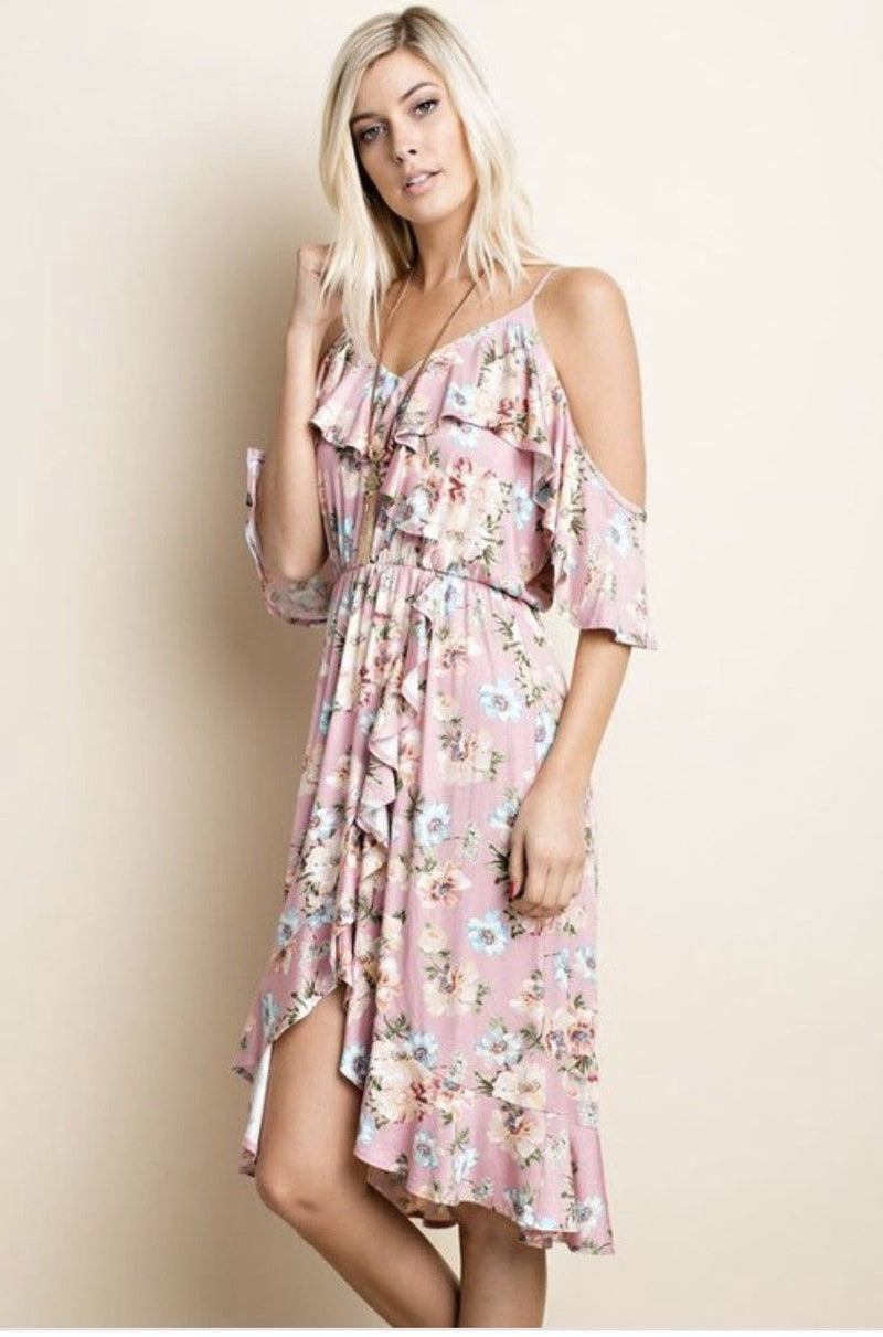 Buy Floral Print Cold Shoulder Dress Ruffles Mauve online at Southern Fashion Boutique Bliss