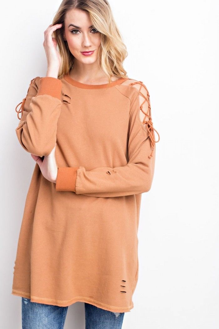 Buy Soft Pullover Sweatshirt Lace Up Tunic Sienna online at Southern Fashion Boutique Bliss