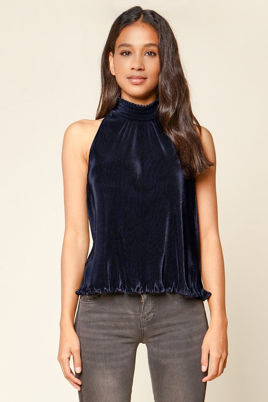 Amerie Pleated Halter Top Navy