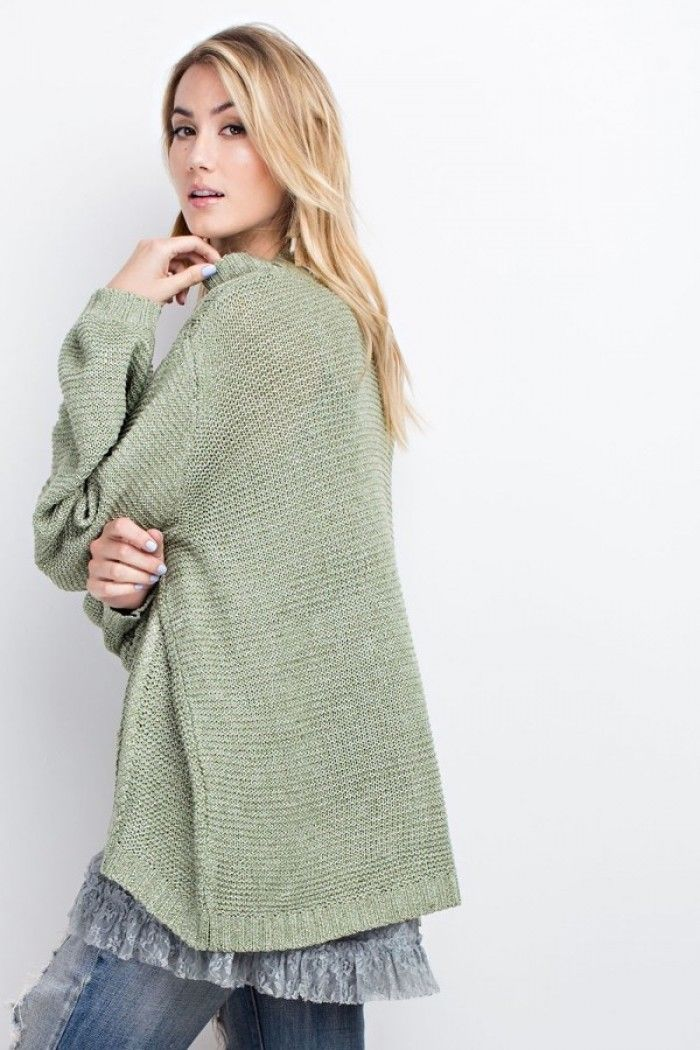 Buy Mock Neck Knitted Sweater Top Green Tea online at Southern Fashion Boutique Bliss